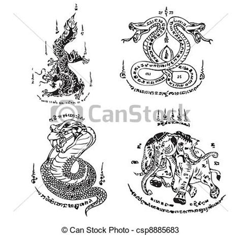 vectors of thai tattoo ancient vector set of thai tattoo