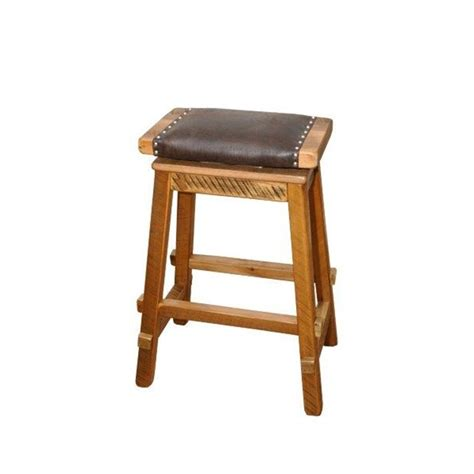 Reclaimed Wood Swivel Bar Stools by Reclaimed Barn Wood Saddle Stool With Wide Faux Leather Seat
