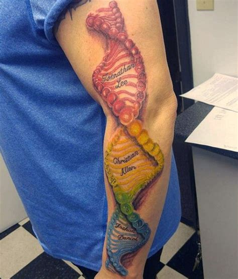 tattoo 3d dna awesome painted very realistic colorful dna tattoo on