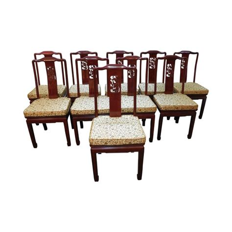 chinese rosewood oriental style dining chairs  chairish