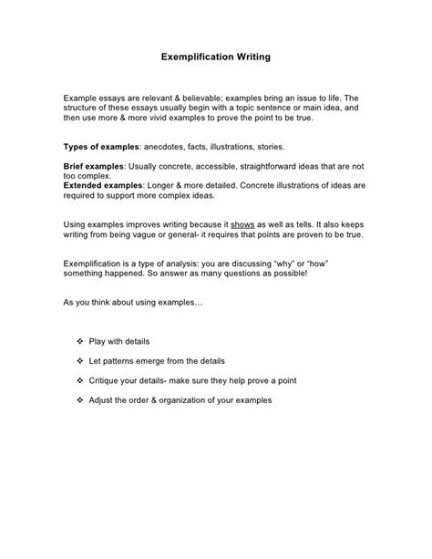 Exemplification Essay Exle by Exemplification Writing Out
