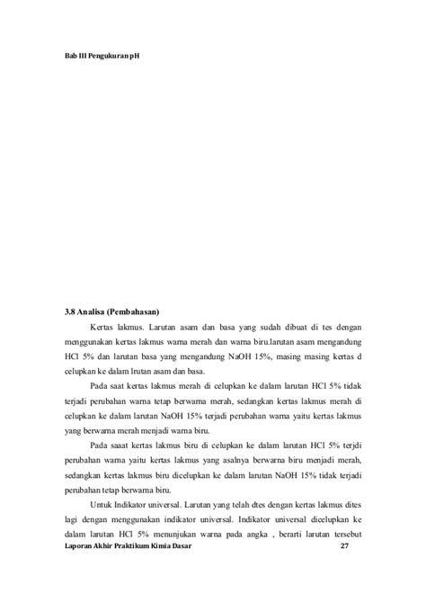 laporan praktikum membuat larutan naoh laporan akhir praktikum kimia dasar unjani