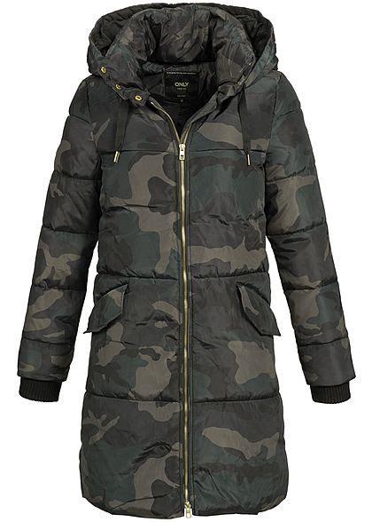 Camouflage Winterjacke Damen by Only Damen Winter Mantel Kapuze 2 Taschen Moonless