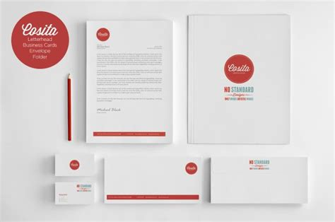 Présentation Lettre Enveloppe Cosita Corporate Identity Business Card Envelope Letter Presentation Folder Template