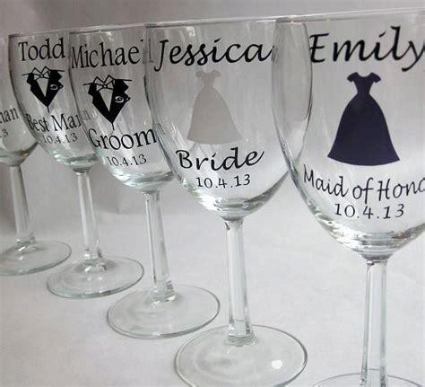 single diy personalized wine glass wedding decals bride