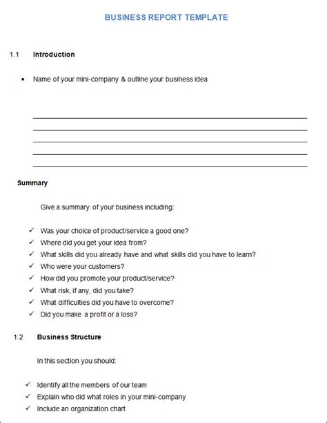 business format report template business report template business report free premium