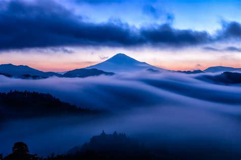 mountain mist sky clouds snow blue sunset summit volcano