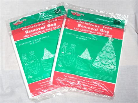 vintage christmas tree removal bag and christmas tree