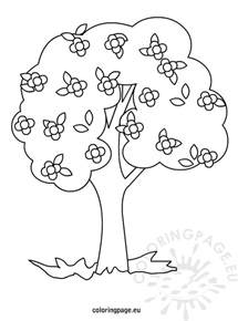 free coloring pages of trees and flowers tree with flowers coloring
