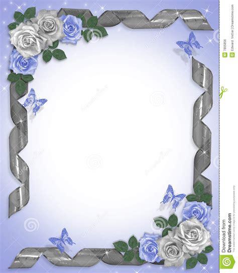 cadre card templates roses et bandes bleues de cadre de mariage illustration