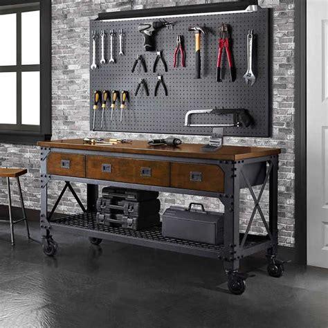 whalen  metal  wood workbench garage tool storage