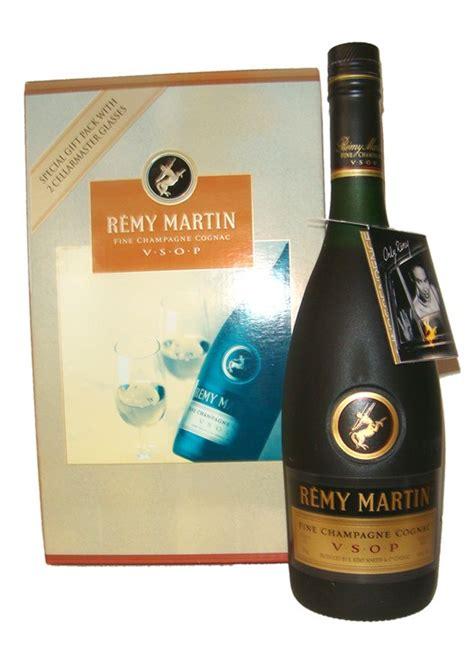 remy martin vsop cognac vintage gift set 2 glasses old