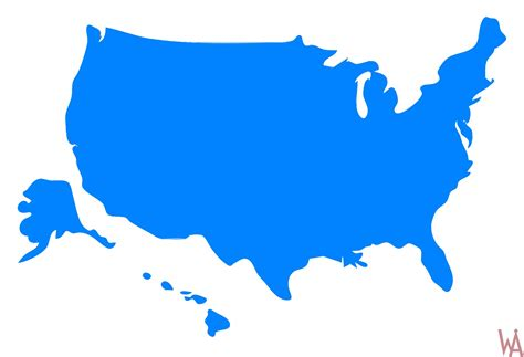 united states colors blank outline color 1 map of the usa whatsanswer