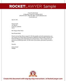 rent increase notice template rent increase letter with sle notice of rent increase