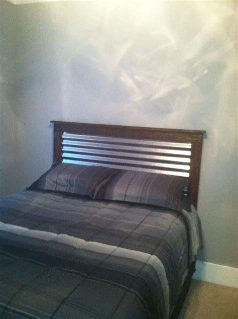 corrugated metal  wood headboard wood headboard