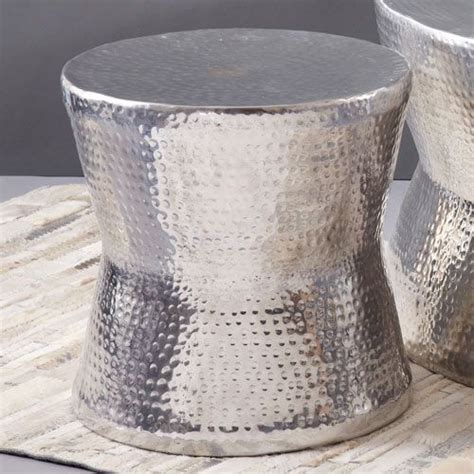 silver tam tam hammered accent table tozai home drum