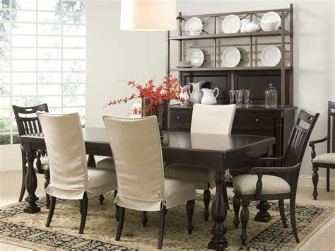 dining table chair slipcovers transitional dining table a dark wood dining table with