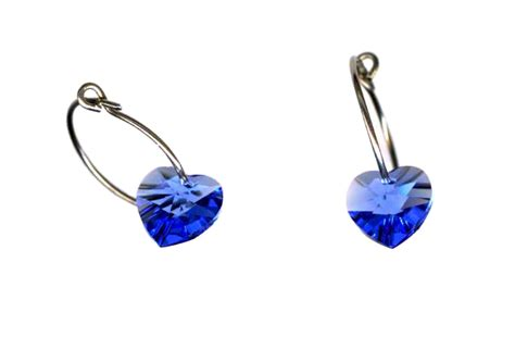 Self Piercing Sleeper Earrings by Titanium Sleeper Earrings With Sapphire Hearts