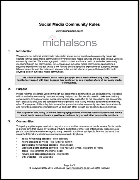 Template Templates Social Media Policy Template Social Media Policy Template Church Social Media Policy Template