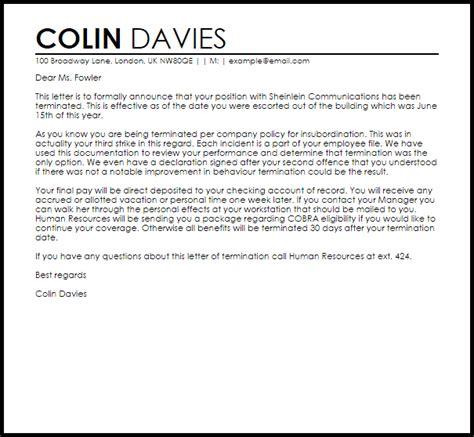 termination letter insubordination letter