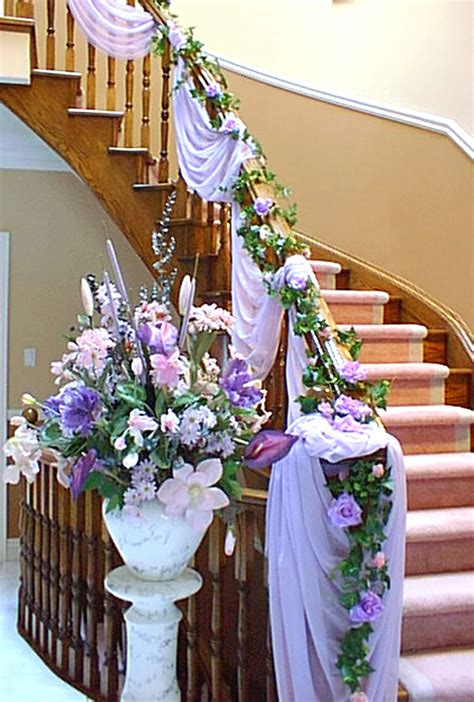 Wedding At Home Decorations | white and purple flower wedding home decoration ideas