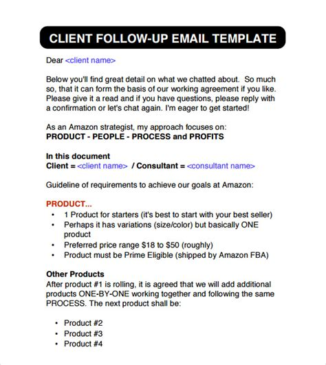 Follow Up Email Template To Client 6 Sle Follow Up Emails Sle Templates