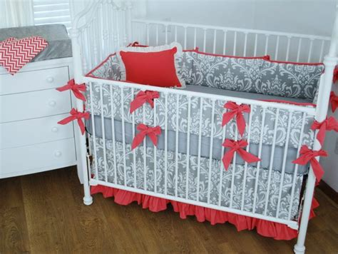 Crib Bedding Bows by Grey Damask Crib Bedding With Large Bumper Bows In A