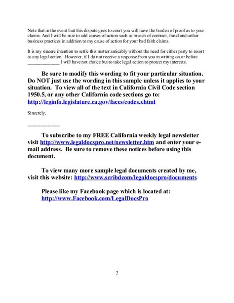 Dispute Settlement Letter Template Free Sle California Security Deposit Dispute Letter