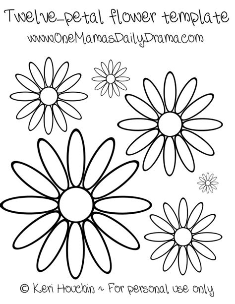 12 petal flower template how to make paper flowers