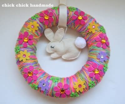 Handmade Easter - sewing handmade easter wreath with bunny and