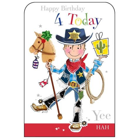 Happy Birthday Wishes 4 Year Boy Happy Birthday 4 Today Boys Birthday Card Karenza Paperie