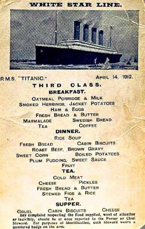 titanic second class menu mondays suck less in the third row