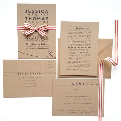 Wedding Invitation Stationery Sets by Henley Rustic Kraft Wedding Stationery Set By Megan