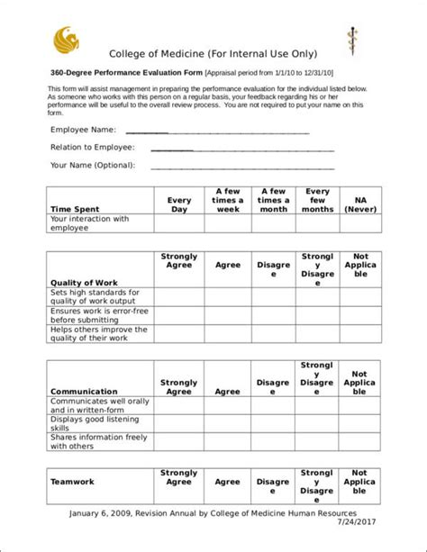How To Evaluate An Employee S Performance Sle Templates 360 Employee Review Template