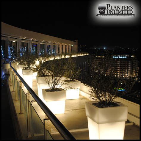 square tapered illuminated planters outdoor lighted planter