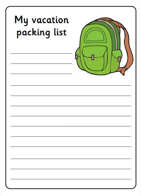 vacation to do list template 7 packing list templates sle templates