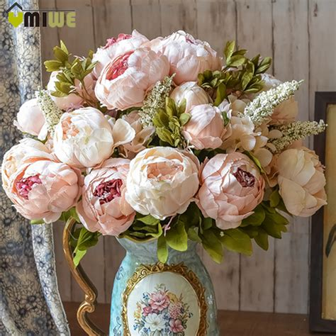 Classical Europe Style Home Decor Flowers Artificial Silk Umiwe 13 Heads European Style Artificial Peony Silk Decorative Flowers For Home Hotel
