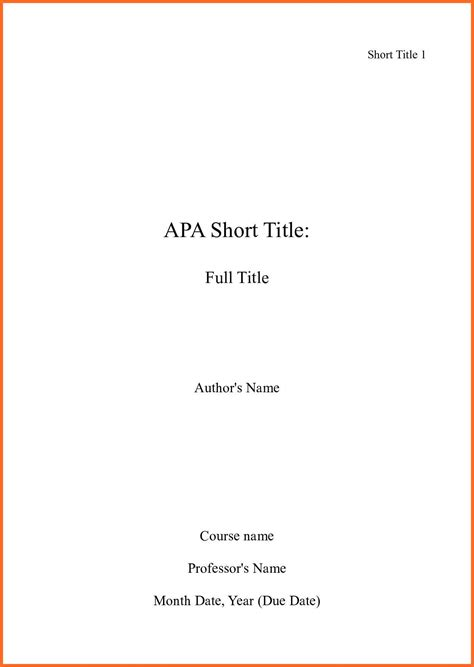 apa title page template soap format