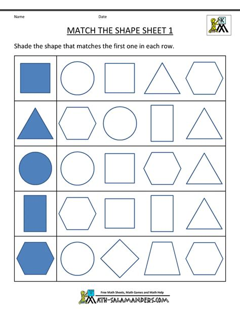 printable two dimensional shapes worksheets free printable geometry worksheets match the shapes 1