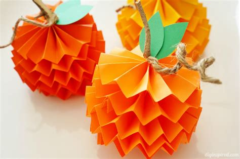 Pumpkin Paper Crafts - how to make paper pumpkins for fall diy inspired