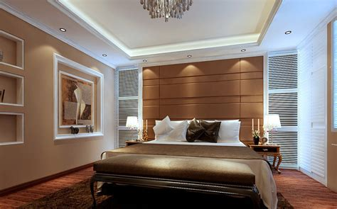 Modern Minimalist Light Brown Bedroom Interior Design 3d