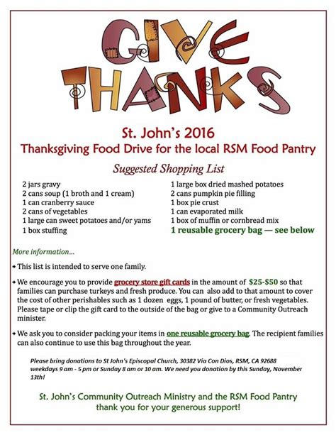 Food Pantry Donation List by St S Episcopal Church Rancho Santa Margarita Ca