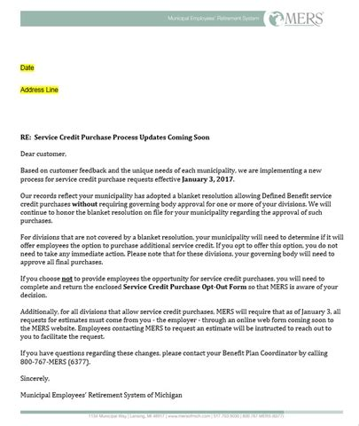 Credit Purchase Letter Letter Sent Service Credit Purchase Process Updates Coming Soon Gt Mers Municipal Employees