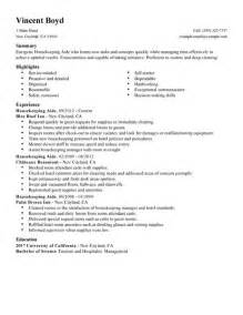 resume housekeeping resume sles skills and