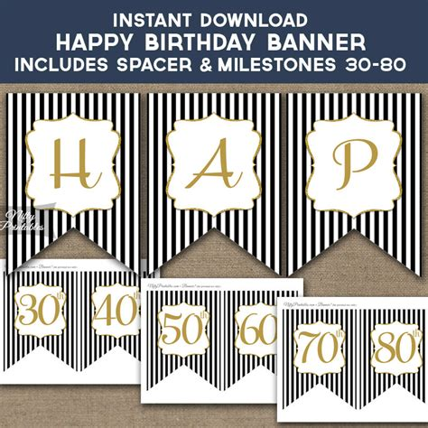 Birthday Banner Printable Happy Birthday Banner Black Gold 60th Birthday Banner Template