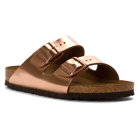 birkenstock arizona soft footbed metallic copper lyst birkenstock arizona soft footbed in metallic