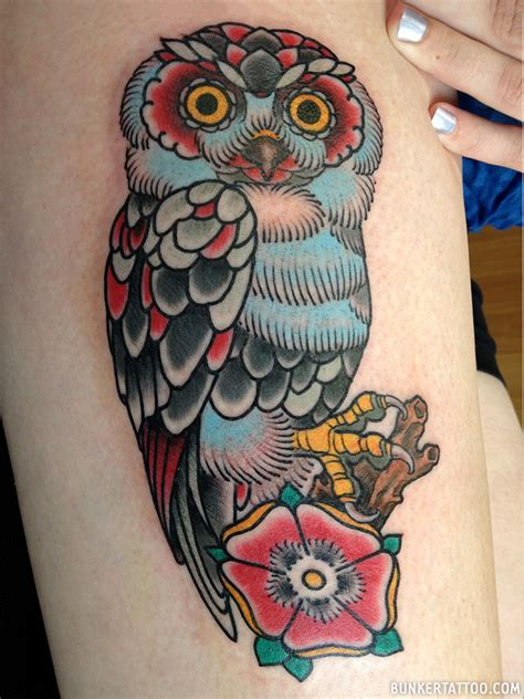 owl tattoo in color owl tattoo in color bunker tattoo quality tattoos