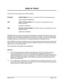 Trustee Resolution Template by Exle Of Deed Of Trust Free Printable Documents