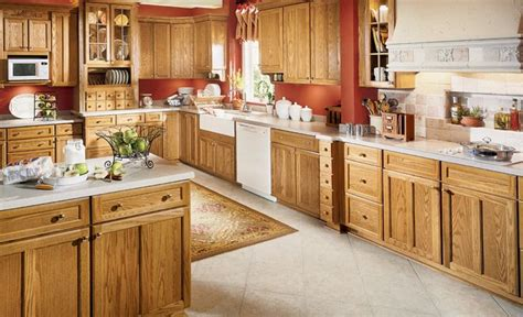 Countertops With Oak Cabinets by Oak Cabinets With White Countertops Decorating