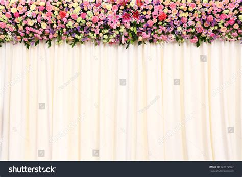 Wedding Backdrop Cloth by Wedding Backdrop With Flower And Cloth Stock Photo